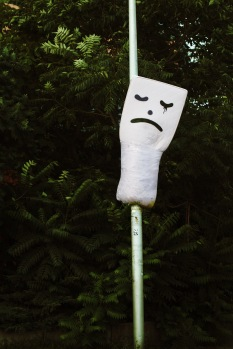 sad mattress (yes, this is a full fledged mattress bound to a pole in a about 3 meters height...)
